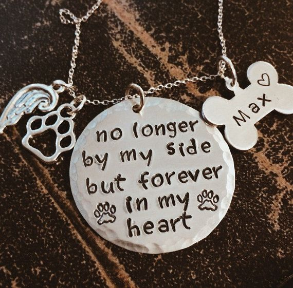 Pet Memorial Jewelry - Angel Wing Paw Print Necklace - No Longer By My Side, But Forever In My Heart.  ORDERING Your custom jewelry from Charmed Jewelry Designs is easy as 1, 2, 3! Just follow these simple steps:   1. Choose your chain length and charm option  2. Let me know in the Notes to Seller box what words you would like stamped on the charm(Exp: pets name)  3. Click Proceed To Checkout to complete your order   Be sure your mailing address is correct before you check out!  WAIT!! Have…