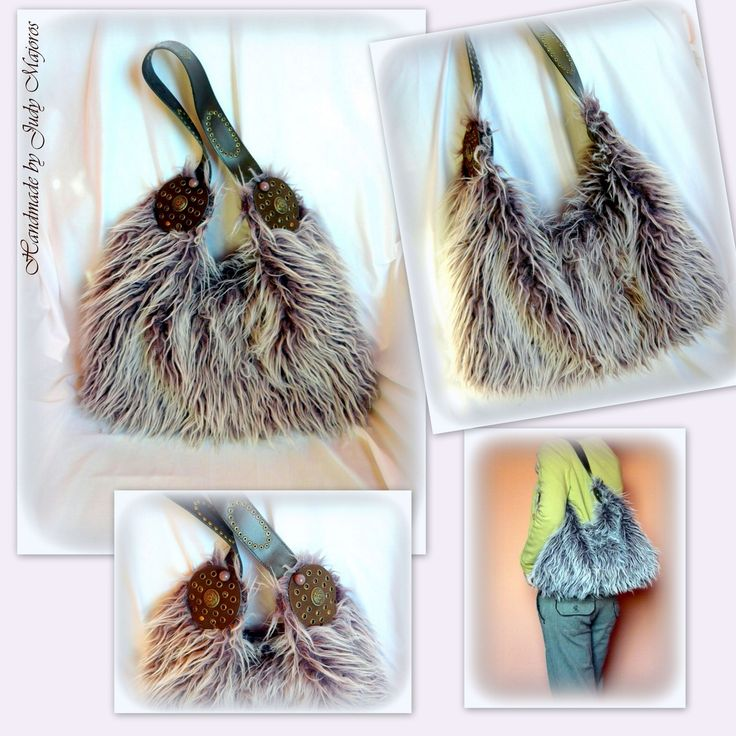 "Handmade by Judy Majoros- Purple ""Yeti"" Faux fur hobo bag.Recycled bag"