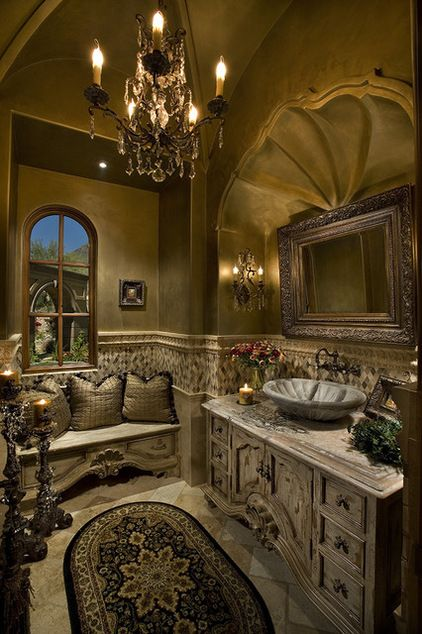 25 mediterranean bathroom designs to cheer up your space for Old world bathroom ideas