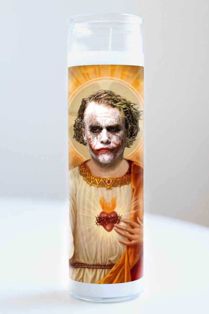 """Heath Ledger (Joker)  Saint Heath Ledger featured on Illuminidol's Texas-made 8"""" prayer candle. The most divine way to bless any Dark Knight disciple!  Texas Made 8"""" in height Unscented Ships anywhere in the US via Priority Mail International Shipping? Please contact info@illuminidol.com Custom and Wholesale options available  #heathledger #actor #joker #batman #darknight #remember #rip #popular #famous #celebrities #pray #candles #art #beautiful #blessed #lit #funny #lol #austin #texas…"""
