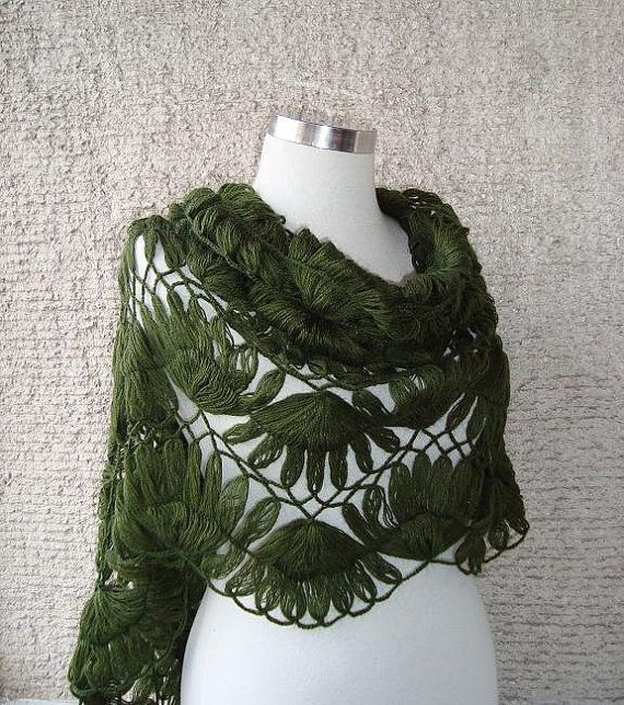 Lovely spring shawl! Pretty Green Mohair Triangle