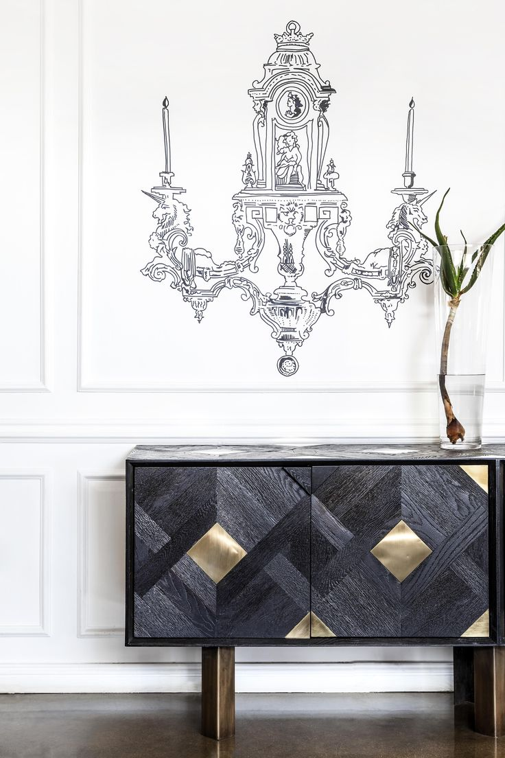 Parquet server, deep grained black timber & brass side server. Elegant & complex with a herringbone pattern & solid brass inlays.
