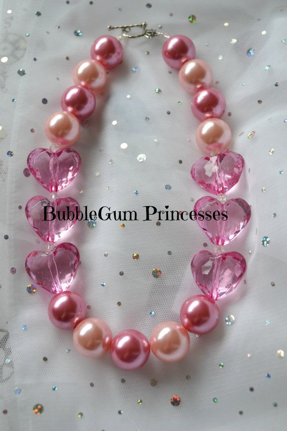 Chunky BubbleGum bead necklace pink hearts pink pearls girls toddler baby Jewelry on Etsy, $18.00