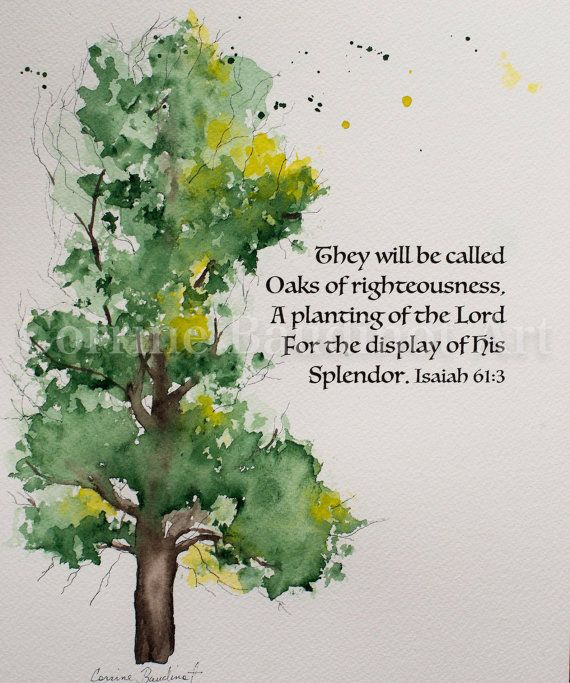 Oak tree watercolor painting They Will Be Called Oaks Of by ssbaud