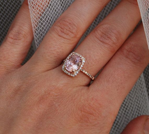 PERFECT!! ;)   3ct Cushion peach champagne sapphire in 14k rose by EidelPrecious, $3300.00