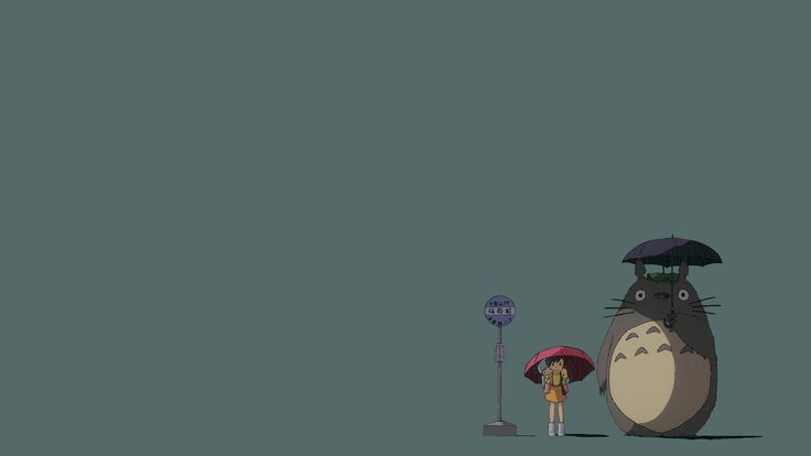 My Neighbor Totoro Bus Stop - Gray Blue 3840x2160 in ...