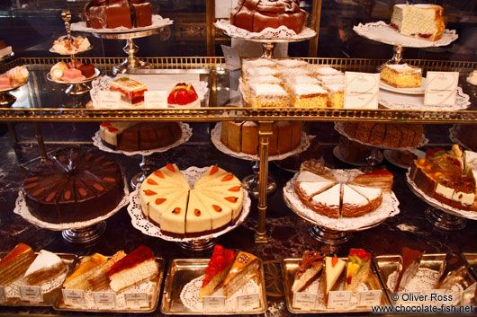 Cakes on display inside the Demel café house in Vienna. photo: Oliver Ross