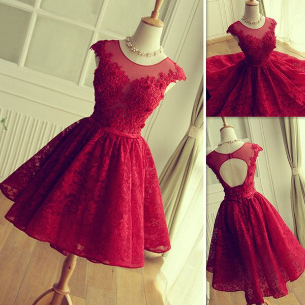 2016 Red Lace Prom Dresses Short Mini Skirt Sheer Neck Tulle Appliques Graduation Homecoming Party Gowns Vestidos De Fiesta Cortos