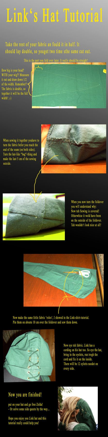 Link Cosplay hat tutorial by ~Eressea-sama on deviantART (Should make an Egbertian one with some adjustments)