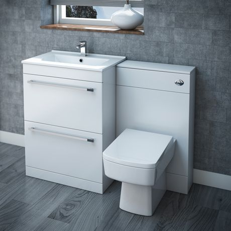 Nova High Gloss White Vanity Bathroom Suite - W1100 x D400/200mm
