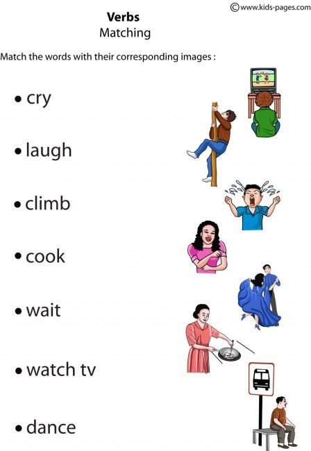 Verbs Matching 2 worksheets Learning english for kids