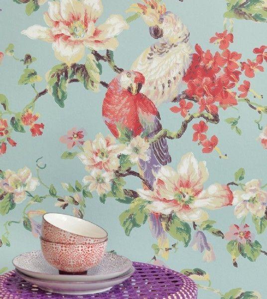 Eijffinger Lavender Dream 322319 blauw rood groen beige bloemen behang | Eijffinger Lavender Dream behang | ALPERBEHANG de grootste behangwi...