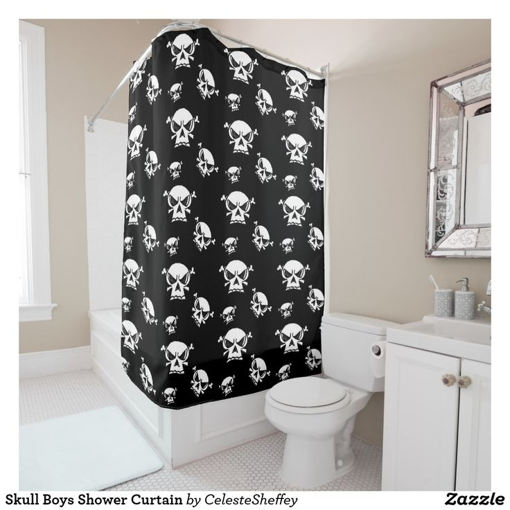 Skull Boys Shower Curtain and/or use as photo backdrop or window curtain