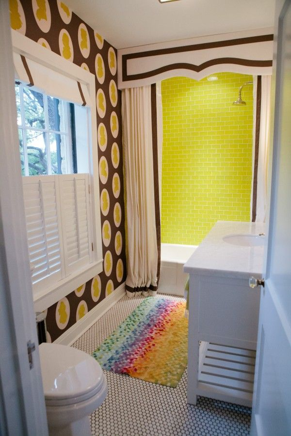 Great tailored shower cornice and curtain by Bailey McCarthy: Showers, Frame, Kids Bathroom, Shower Curtain Valances, Wallpaper, Fun Bathroom, Shower Curtains, Kid Bathrooms