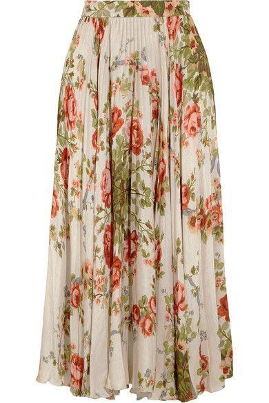 Gucci for NET-A-PORTER - Pleated Floral-print Silk Midi Skirt - Ecru - IT46
