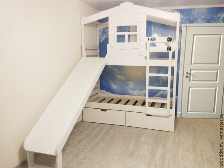 Купить Детская кровать с горкой - белый, кровать, кровать из дерева, кровать детская, кровать чердак