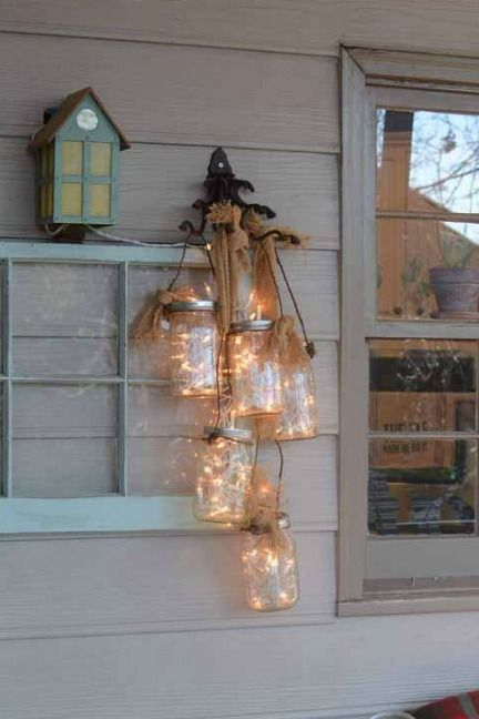 Make your porch sparkle with a chandelier of Mason jars.