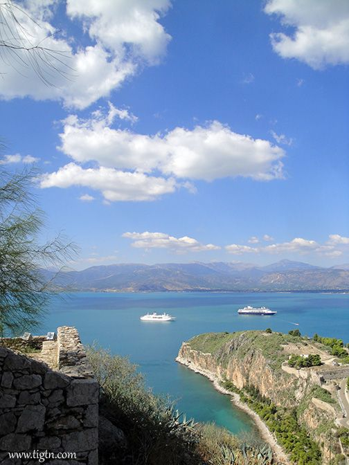 View of #Akronafplia and #Arvanitia from #Palamidi Castle in #Nafplio - #Peloponnese, #Greece