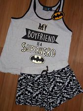 Primark Ladies BATMAN Pyjamas MY BOYFRIEND IS A SUPERHERO Vest T Shirt &…