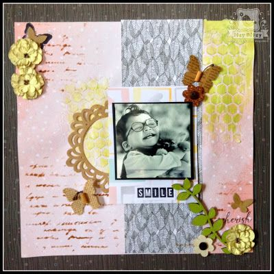 Itsy Bitsy - The Blog place: Scrapbook layout with stencils