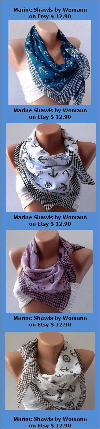Marine Shawls by Womann on Etsy, $12.90: Afghans, Anchors Scarfs, Anchors Scarves, Cotton Scarfs, Black And White, Shawl, Anchor Scarf, Cute Scarfs, Pashmina