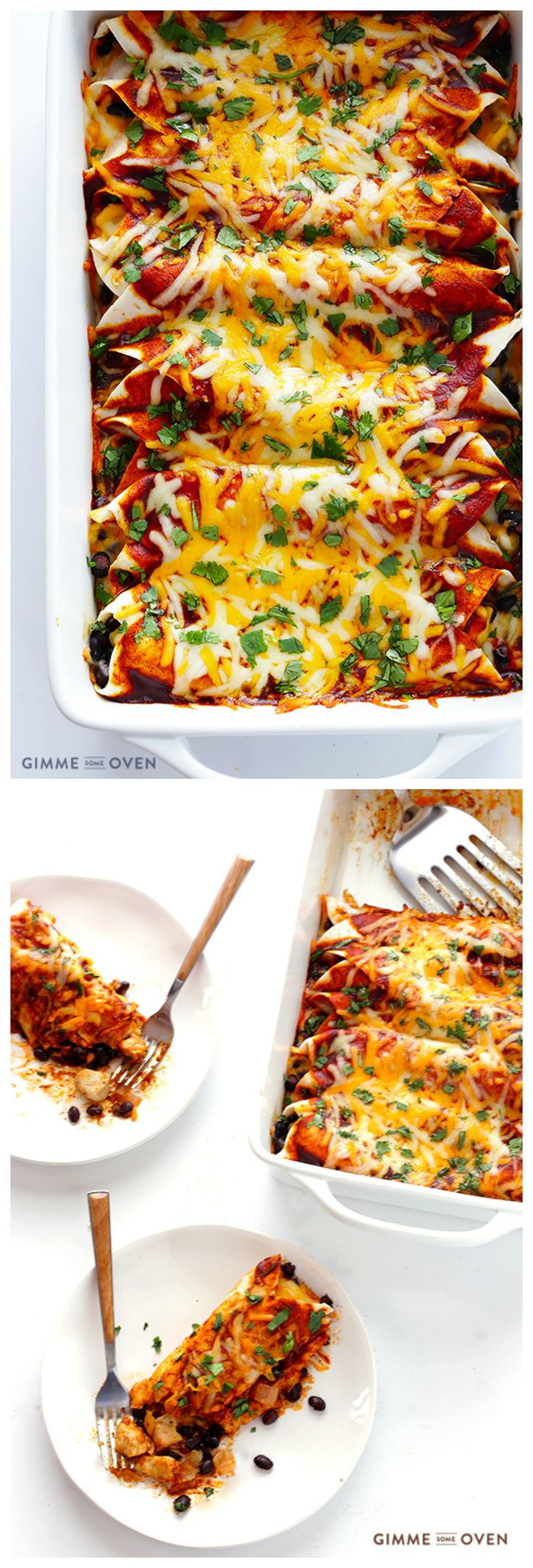 These really are the Best Chicken Enchiladas EVER!!  They're easy to make, perfect for freezing, and guaranteed to be a crowd favorite! | gimmesomeoven.com #mexican
