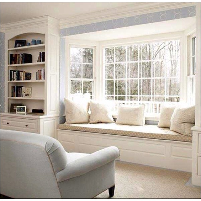 window seat, bookshelves- toddler height cupboards for base