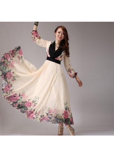 9e3105519 Off White and Black Flower printed Western Collection Dress
