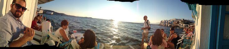 Sundown at Little Venice (Mykonos)   Mykonos, Lesvos, Μύκονος, Mökene, Mytillini, Athens, Tyre, Santorini, Oia, Fira, Greece, Grek, Summer, Holiday via Tanerozcelik.com