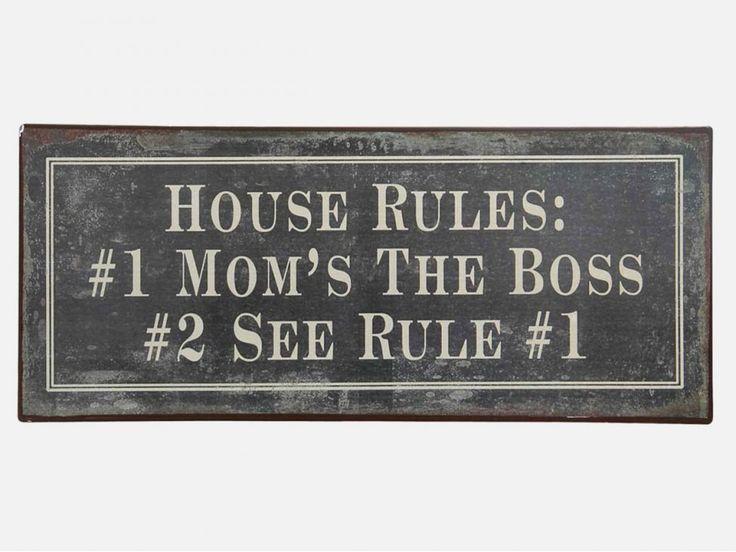 "Tabliczka Metalowa ""House rules"" — Tablice i magnesy Ib Laursen — sfmeble.pl"