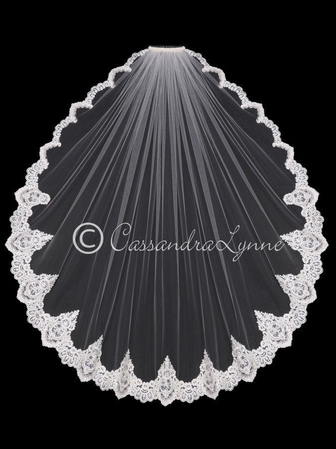 Fingertip Wedding Veil with Regal Sequin Lace