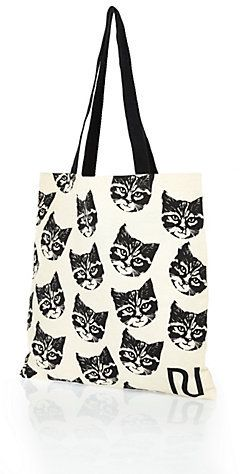 White and Black Print Canvas Tote Bag by River Island. Buy for $4 from River Island