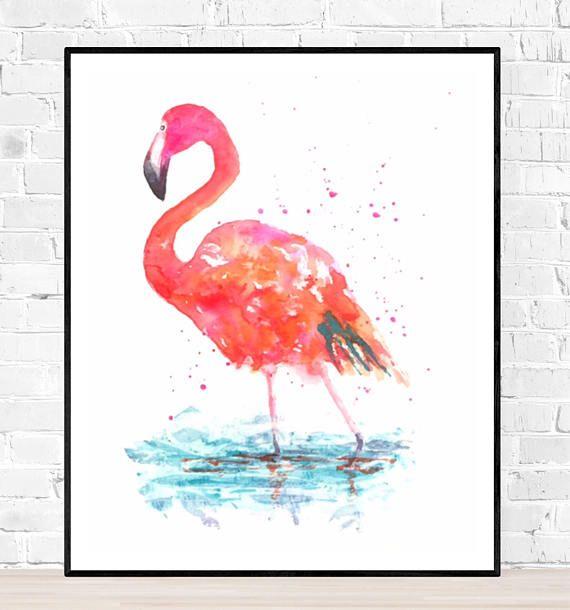 Origineel kleurrijk flamingo schilderij door ZenWatercolors etsy shop