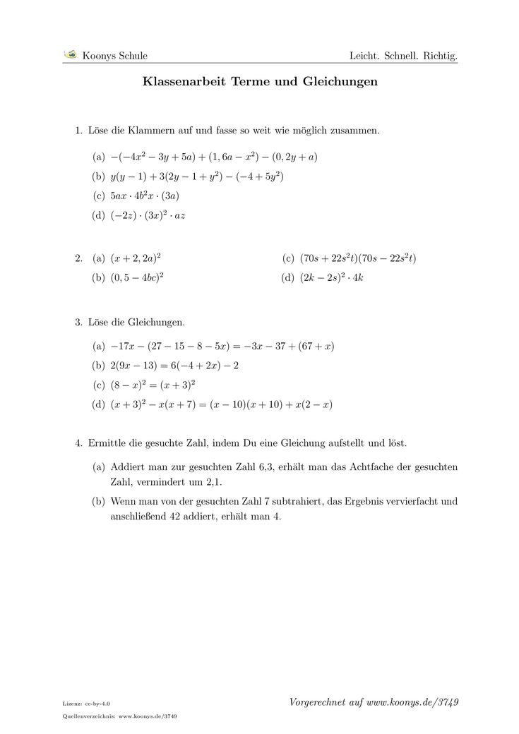Klassenarbeit Terme Und Gleichungen Arbeitsblatt 3749 Klassenarbeiten Gleichungen Erste Klasse