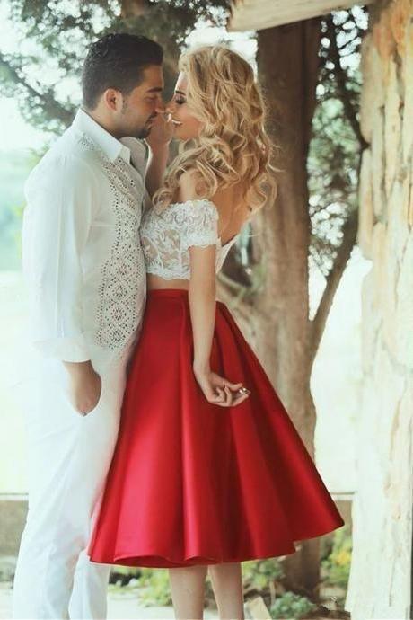 2 piezas de vestir de hombro de encaje superior y vestido de falda de raso rojo