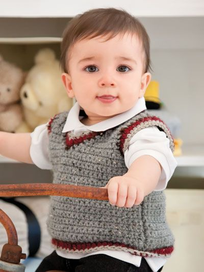 My Big Boy Vest crochet pattern from Annie's Craft Store. Order here: https://www.anniescatalog.com/detail.html?prod_id=137477&cat_id=468