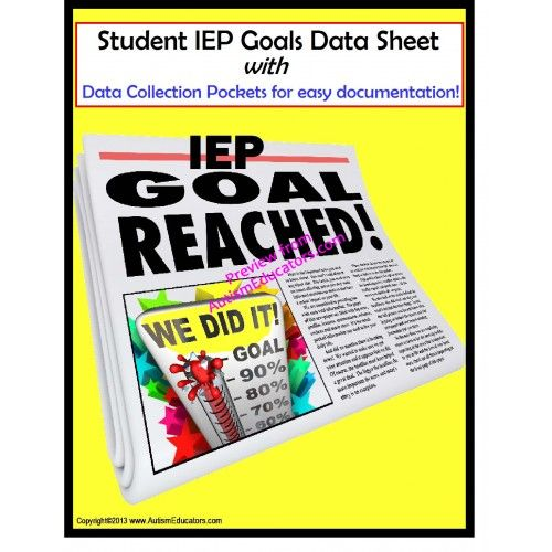 EDITABLE IEP Data Tracking Sheets and Cards! Includes a data sheet for students to participate, too!