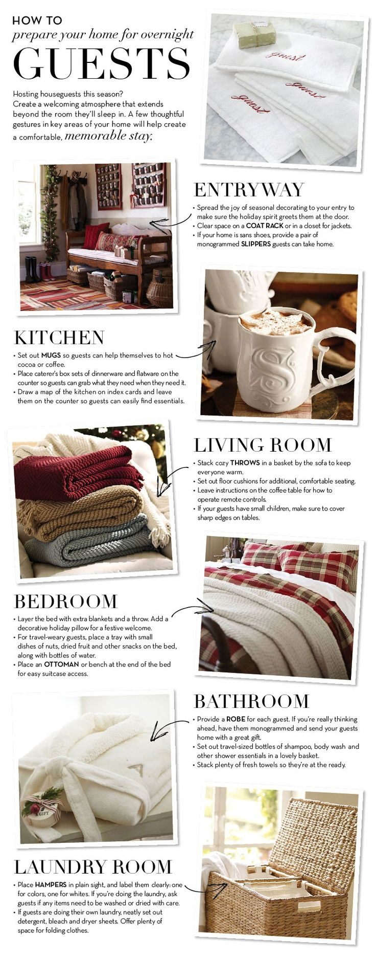 Preparing for overnight guests can be easy and stress free with these tips. Make each room welcoming and your guests will feel right at home.