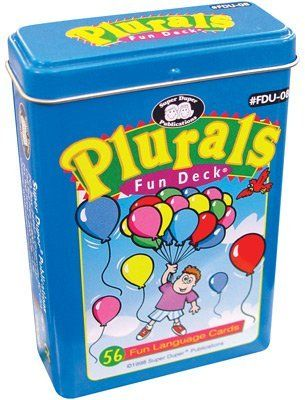 """Plurals Fun Deck Cards - Super Duper Educational Learning Toy for Kids by Super Duper Publications. $11.95. The Plurals Fun Deck is a colorful, fun-filled way to teach singular-plural relationships. It contains 56 whimsical cards your children will love. Each Plurals Fun Deck includes 28 pairs of plural picture-cards (21 regular and 7 irregular plurals), a content list, and instructions for fun activities. All cards are 2 1/2"""" x 3 1/2""""."""