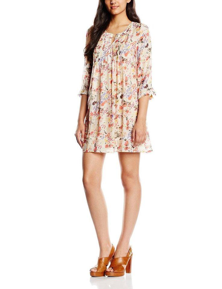 Vestido hipster mujer manga 3/4 con diseño estampado floral multicolor, con corte túnica y cuello redondo, es ideal para esta primavera - verano.