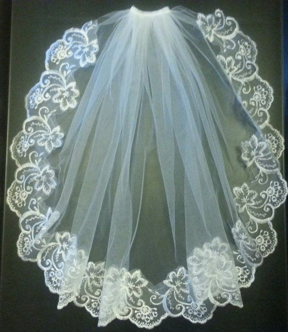 Communion  1 Tier  LACE EDGE  First by Misseleganceyveils on Etsy
