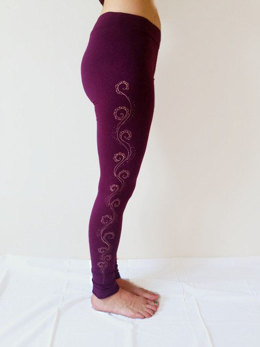 New to TheHennaGrove on Etsy: ON SALE Peacock yoga pants. Henna design leggings. Dance leggings.  Hand painted trousers. Workout leggings. Mehndi designs. Christmas gift. (49.60 USD)