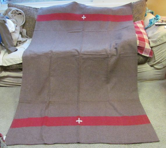 Military surplus wool blanket army camp medic white by paintallday, $65.00