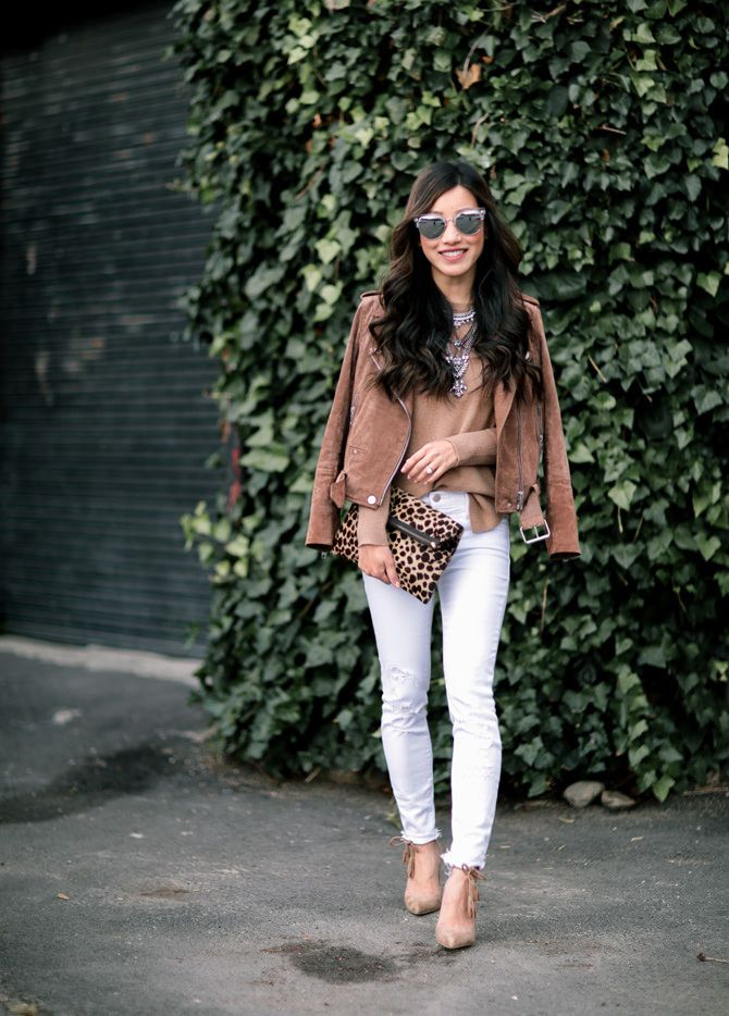 cute fall outfit ideas // suede moto jacket + camel cashmere sweater + white jeans from extra petite blog