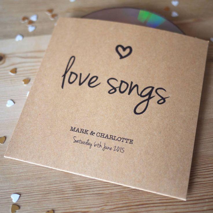 diy cd wedding invitations%0A Set Of    Personalised  u    Love Songs u     CD Sleeve Favours