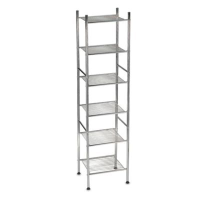 Photographic Gallery Buy Metal Tower Shelf in Chrome from at Bed Bath u Beyond Ideal for tight spaces this Tower Shelf with a chrome finish is narrow but creates space