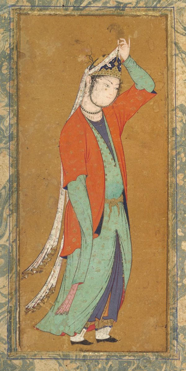 Woman adjusts her aigrette ca. 1590  Muhammad Sadiqi   Opaque watercolor and gold on paper H: 28.7 W: 17.8 cm Isfahan, Iran