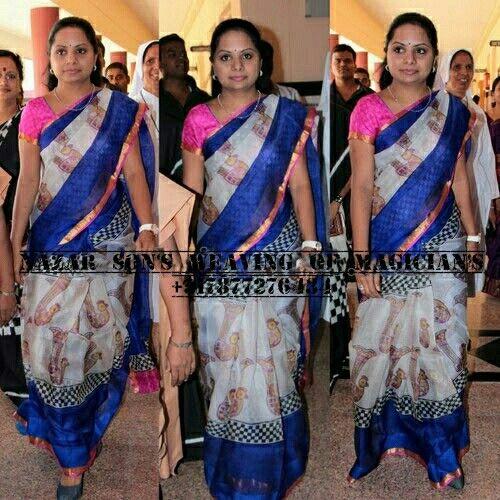 South's celebrity kavitha in zari kota saree