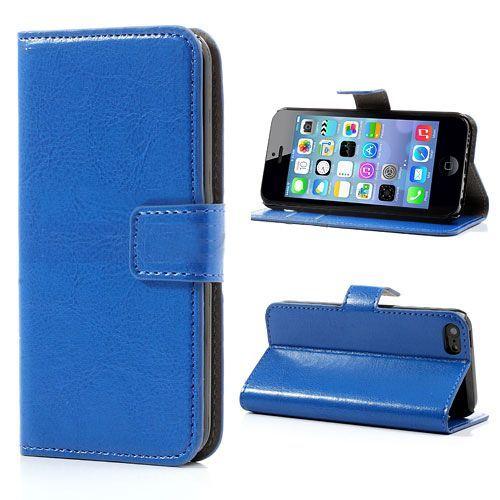 Blauw leder bookcase hoesje iPhone 5C