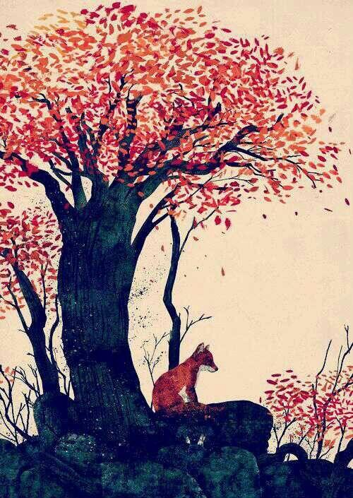 Fox in Autumn print